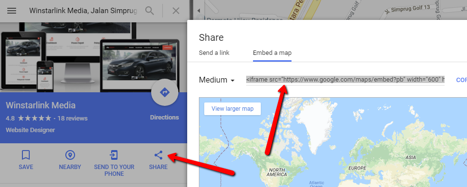 cara embed google map di website