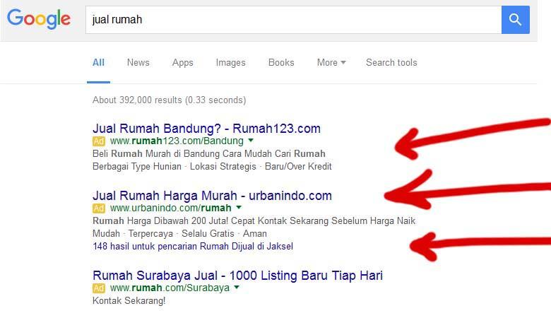 Tampilan iklan google adwords